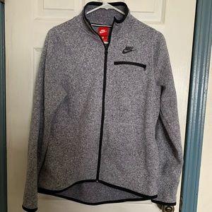 Nike Men's Gray Fleece Zip-up Large